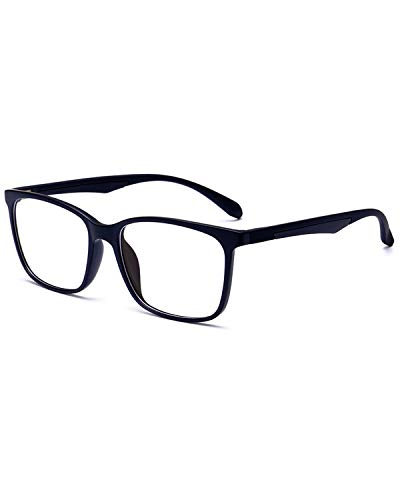 ANRRI Blue Light Blocking Glasses for Computer Use, Anti Eyestrain Lens Lightweight Frame Eyeglasses, Black, Men/Women