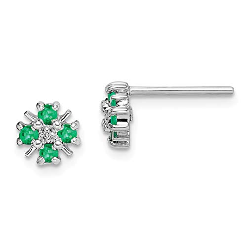 925 Sterling Silver Green Emerald Diamond Post Stud Ball Button Earrings Fine Jewelry For Women Gift Set ()