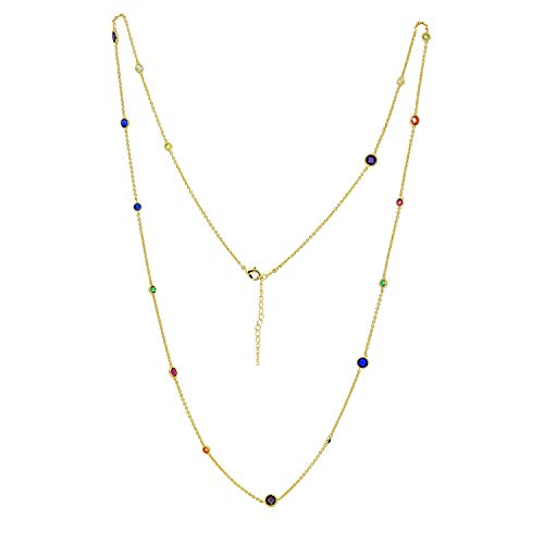 6TH AVE Shades of Rainbow Collection - Yellow Gold Plated Colorful Layer Station Necklace (Asscher Gold Necklace)
