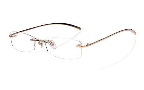 Glasses Prescription Rimless - Agstum Pure Titanium Rimless Glasses Prescription Eyeglasses Rx (Gold, 53)