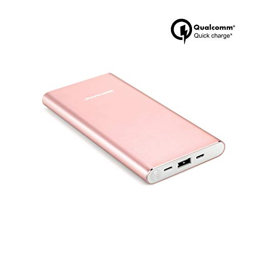 10000mAh Quick Charge QC 3.0 Portable Charger Fast Charging Power Bank Slim Back Up Battery Pack Compatible For iPhone X XS XS MAX XR 8 7 6 6s Plus & iPad Android Samsung Galaxy Cell Phone - Rose Gold (Iphone Backup)