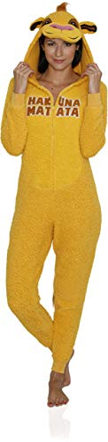 Disney Women's Lion King Simba One Piece Pajama, Mustard Yellow, Size Small