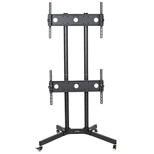 VIVO Black Rolling Dual Screen TV Cart for 32 to 65 inch LCD LED Plasma Flat Panel Screens | 2 Screen Mobile Stand with Wheels (STAND-KIT-TV03E)