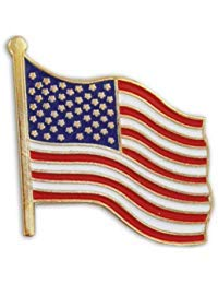 (United States Waving American Flag Stars and Stripes Lapel Pin)
