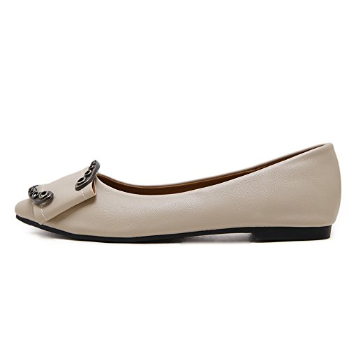 AdeeSu Womens Buckle Solid Low-Cut Uppers Urethane Flats Shoes Apricot