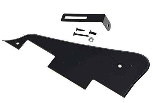 (KAISH Single Black 1 Ply LP Guitar Pickguard with Black Bracket for Epiphone Les Paul)