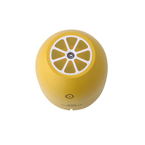 Yidartonミニディフューザーレモン型加湿器超音波式かわいいUSBアロマ卓上加湿器LED空焚き防止自動off(イエロー)