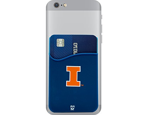 Glass Illini Fighting Illinois (Illinois Fighting Illini Adhesive Silicone Cell Phone Wallet/Card Holder for iPhone, Android, Samsung Galaxy, & most Smartphones)