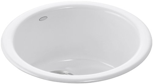 KOHLER K-6565-0 Porto Fino Self-Rimming Undercounter Entertainment Sink, White Self Rimming Bar Sink