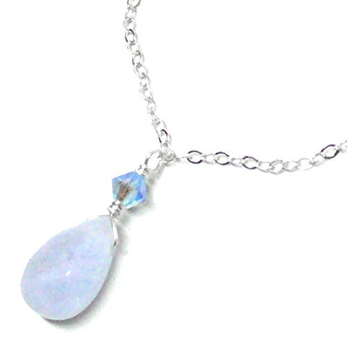 Blue Lace Agate Briolette Dainty Chain Necklace Sterling Silver 17-1/2 Inches - Blue Agate Designer Necklace