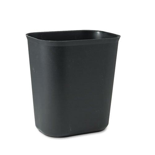 Fire-Resistant Wastebasket, Rectangular, Fiberglass, 3.5gal, Black