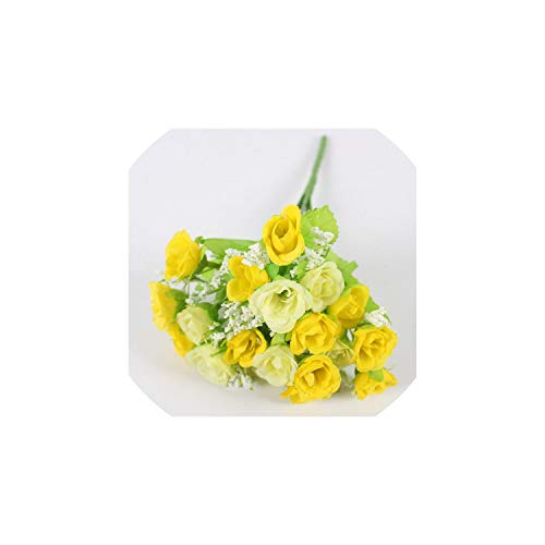 Free-Island 15 Heads/Bouquet Small Bud Roses Bract Artificial Flower Silk Rose Wedding Home,Army Green