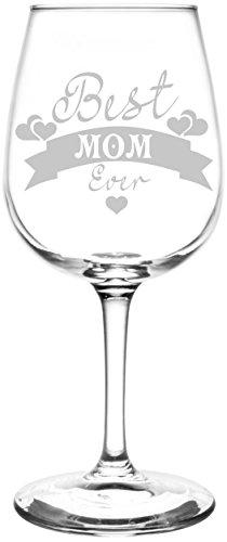 (Mom) Hearts & Banner Best Ever Celebration Inspired - Laser Engraved 12.75oz Libbey All-Purpose Wine Taster Glass