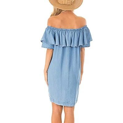 Vestidos para Mujer,Sexy Moda Fiesta Vestido Elegante Suelto Vestido de Noche Verano Casual Ruffle Vestidos Cortos Color sólido Vestido un Hombro vpass: Ropa y accesorios