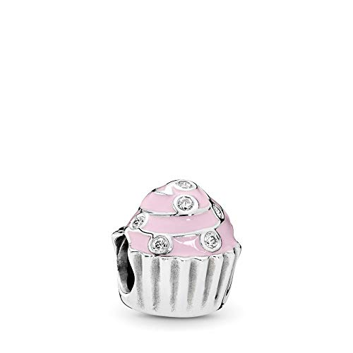 PANDORA Sweet Cupcake Charm, Sterling Silver, Light Pink Enamel & Clear Cubic Zirconia, One ()