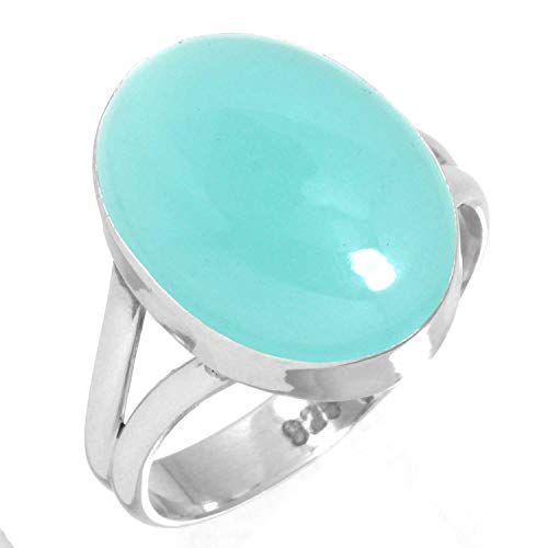 925 Sterling Silver Women Jewelry Natural Aqua Chalcedony Ring Size 8.5