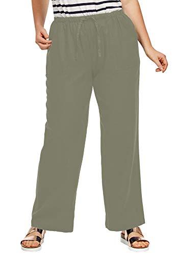 Ellos Women's Plus Size Linen Blend Drawstring Pants - Olive Grey, 22