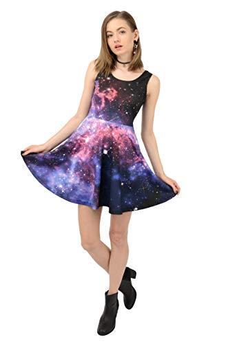 CowCow Womens Pink Space Skater Dress, Pink - 2XL ()