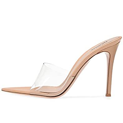 Amy Q Open Pointed Toe High Heel Plexi Mules Sexy Transparent Sandals for Women Dress Heels Ladies Stiletto Heel Summer Shoes, Size 4