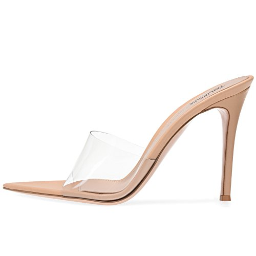 (Amy Q Open Pointed Toe High Heel Clear Mules Sexy Transparent Shoes for Women Dress Heels Ladies Stiletto Heel Summer Sandals, Size 8 )