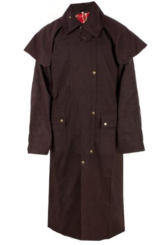Mens Duster Jackets (Mens Oil Cloth Oilskin Western Australian Waterproof Duster Coat Jacket (Brown, XXXL))