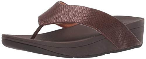FitFlop Women's Swoop Shimmy Snake Flip-Flop, Chocolate Brown, 10 M US ()