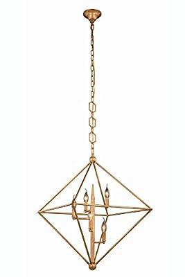 """Elegant Lighting 1495D30GI Nora Collection Pendant Lamp D30"""" H32"""" 5-Light"""