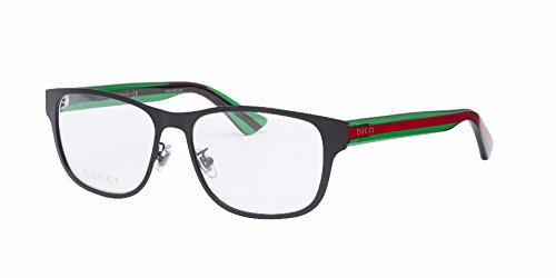 Gucci GG0007O Optical Frame 002 Black Green Transparent 55 - Transparent Gucci