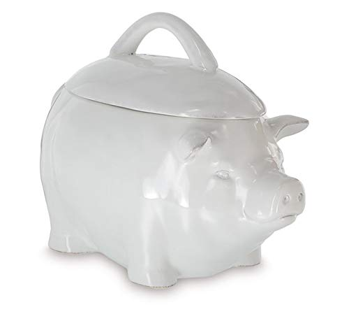 burton + BURTON Solid White Ceramic Pig Shape Cookie Jar