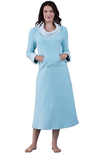 PajamaGram Super Soft Women's Pale Teal Fleece Nightgown, Teal, XLG (16)