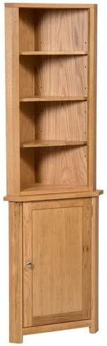 Hallowood Waverly Small Compact Corner Display Cabinet in Light Oak Finish   Storage Cupboard with Shelf   Solid Wooden Unit, ((WAV-CUP784-SET)