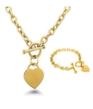 Crazy2Shop Stainless Steel Yellow Gold Plated Elegant Heart Charm Cable Link Chain Necklace & Bracelet Set with Toggle Clasp, 18