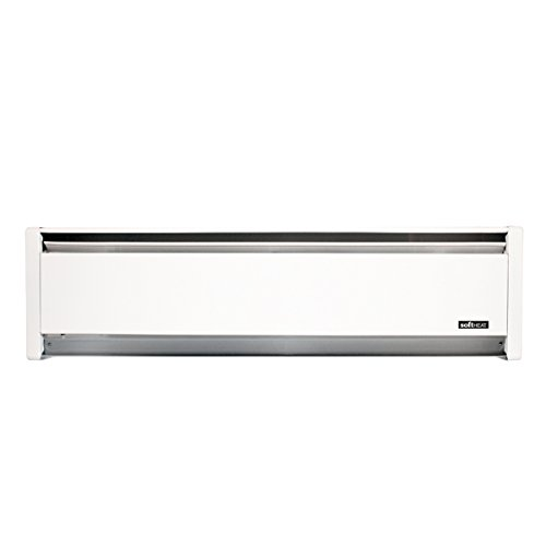 Top-Rated Hydronic SoftHeat 750-Watt Electric Baseboard Heater by Cadet, Left-end wiring, 240V in white, safely provides quiet, even heat distribution with USA made quality and 7-Year warranty by Cadet