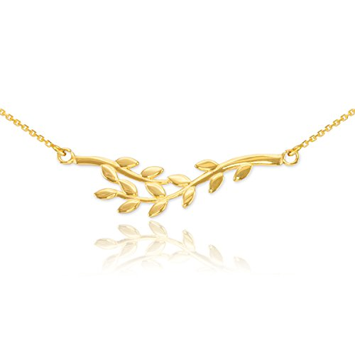 Yellow Gold Olive (Polished 14k Yellow Gold Double Olive Branch Pendant Necklace,)