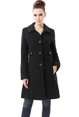 BGSD Women's Heather Wool Blend Walking Coat, Black, Plus Size 3X