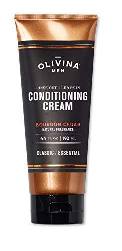 Olivina Men Rinse Out   Leave In Conditioner Cream, Bourbon Cedar, 6.5 Fl. Oz.