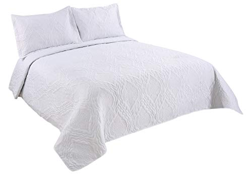 - Marina Decoration Pinsonic Solid 2 Pieces Reversible Quilt Set with 1 Pillow Sham, White Color, Twin Size