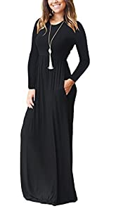 AUSELILY Women Long Sleeve Loose Plain Maxi Dresses Casual Long Dresses with Pockets