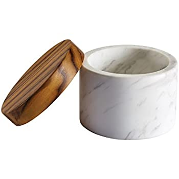 Anolon Pantryware White Marble Salt Cellar with Teak Wood Lid, 5.25-Ounce Capacity