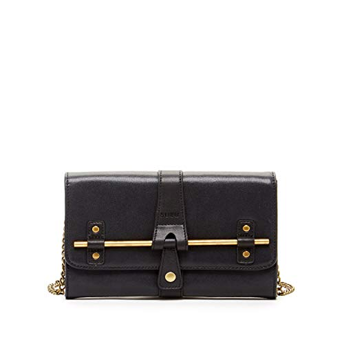 Black Leather Crossbody Bags For Women SUSU Chic Leather Handbags For Travel Small to Medium Size Purse Hand Bags For Womens Handbags With Gold Metal and Chain Strap Trendy Leather Purses and Handbags ()