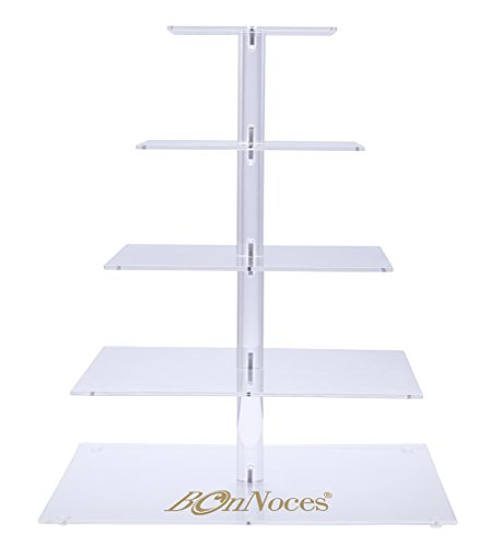 BonNoces 5 Tiers Square Acrylic Large Pastry Cupcake Stands Holders Tree-Clear Round Wedding Cake Stand-Cupcake Tower Stand Display-Cupcake Carriers for Wedding Party