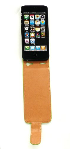 Emartbuy ® Apple Iphone 5 5G Luxe En Cuir Pu Cas De Secousse / Couverture / Pochette Vert / Tan Et Protecteur D'Écran Lcd