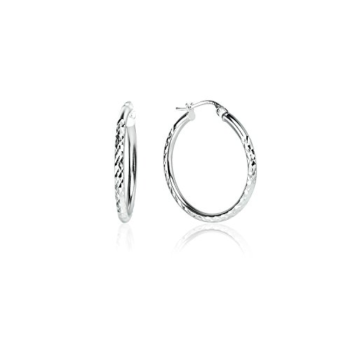 (LOVVE Sterling Silver High Polished Round Diamond Textured Click-Top Hoop Earrings, 2x25mm)
