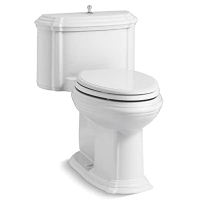 KOHLER K-3826-0 Portrait Comfort Height Compact Elongated 1.28 GPF Toilet with Aqua Piston Flush Technology and Lift Knob Actuator, White
