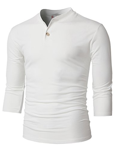H2H Mens 3/4 Sleeve Raglan Henley Retro Shirt in Multiple Colors White US S/Asia M (CMTTS0205)