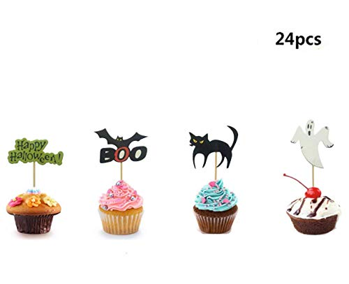 Maydolbone 24Pcs Halloween theme Party Cupcake Toppers,Food Picks Baby Shower Decor And Cupcake Party Favors