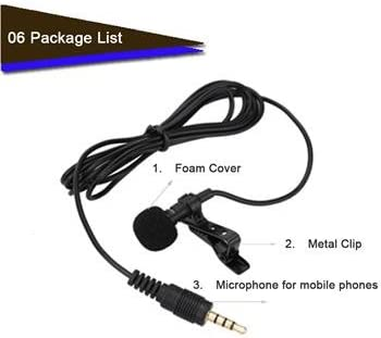 WALLER PAA 3.5mm Clip On Lapel Microphone Hands Free Wired Condenser Mini Lavalier Mic