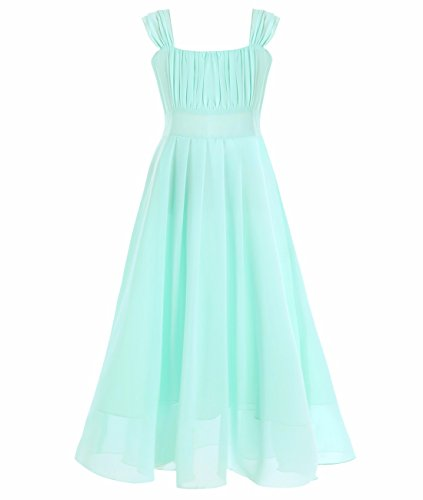 iEFiEL Big Girls Ruched Bodice Chiffon Long Dress Junior Bridesmaid Gown Turquoise (Ruched Bodice Gown)