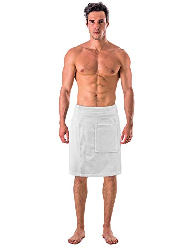 (Turkish Linen Men's Velour Cotton Terry Shower and Bath Towel Wrap (One Size) (White))