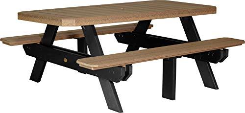 LuxCraft PolyTuf 6′ Outdoor Picnic Table Antique Mahogany & Black